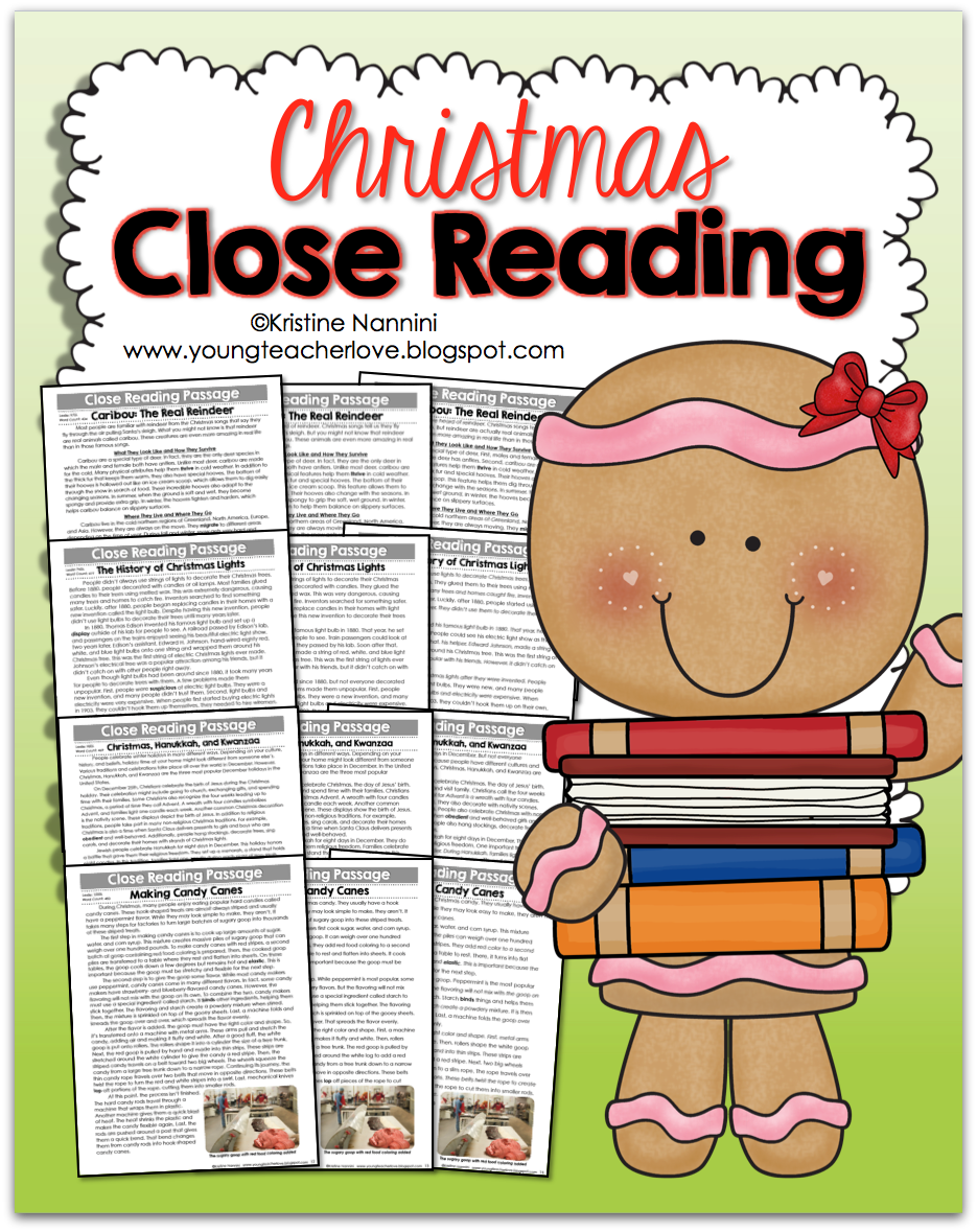 Christmas Close Reading Passages, Text-Dependent Questions & More- Young Teacher Love by Kristine Nannini
