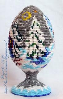 рождественский подарок, бисероплетение, яйцо ручной работы