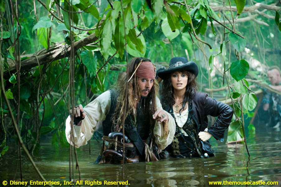 Johnny Depp with Penelope Cruz in Pirates of the Caribbean: On Stranger Tides