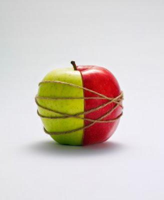 due metà di mela unite