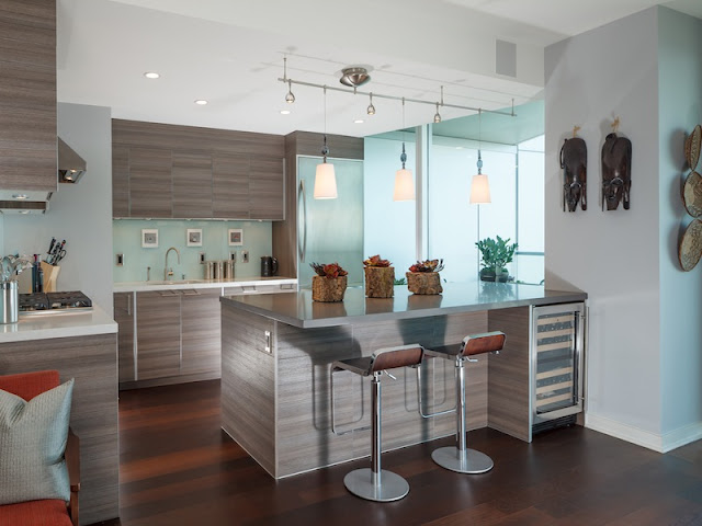 Picture of contemporary kitchen with light brown wooden furniture