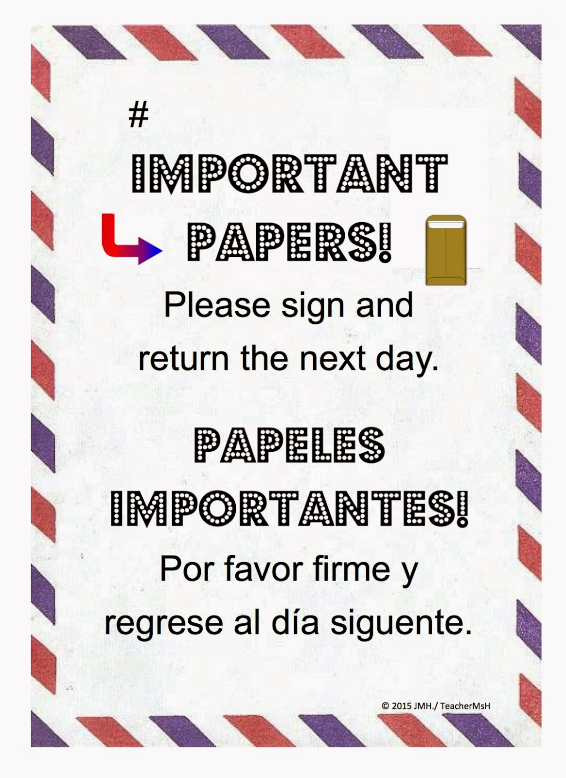 FREE Return Important Papers Note ~ Use as a cover for Laminated Manila Envelopes ~ Just English or with Spanish too!
