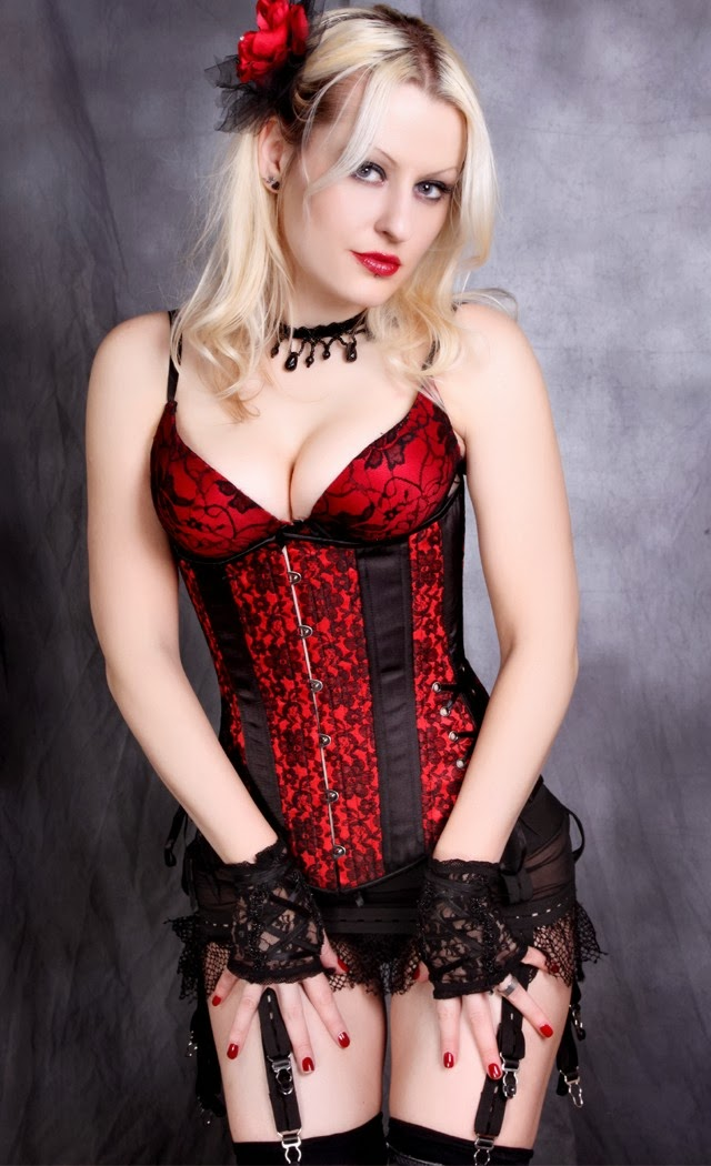 LONG CUT Scarlet Red Satin with Black Lace Overlay Underbust Corset