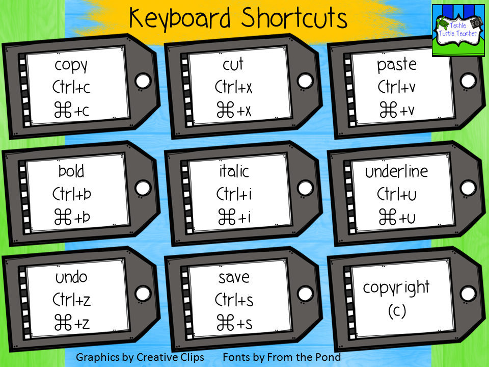 Techie Turtle Teacher Tech Tip Tuesday Keyboard Shortcuts