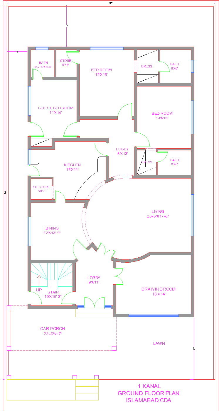 Ground Floor Plan Front Elevation : D front elevation kanal house plan cda islamabad