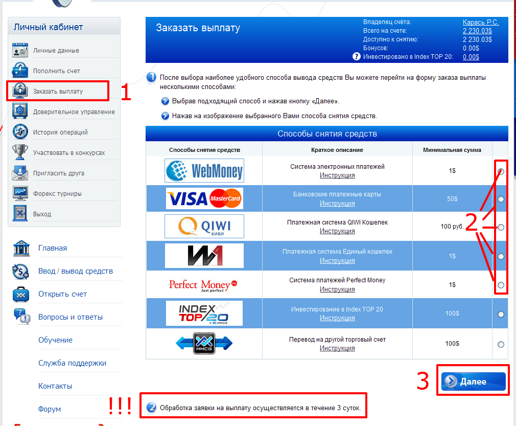 Заказ выплаты с лицевого (основного) счета Forex MMCIS