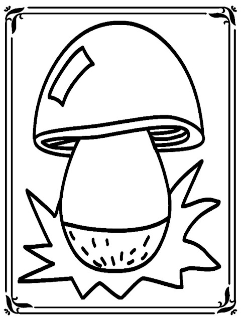 mushroom free coloring pages