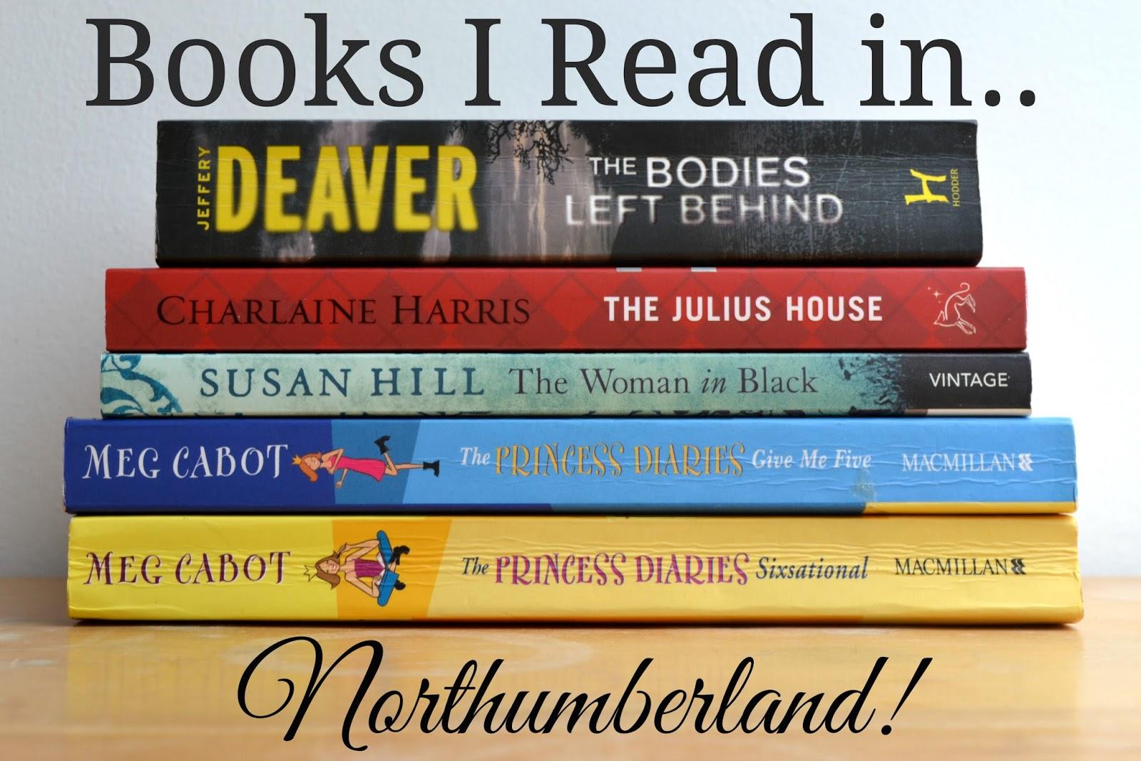 Book pile Jeffery Deaver Charlaine Harris Susan Hill Meg Cabot