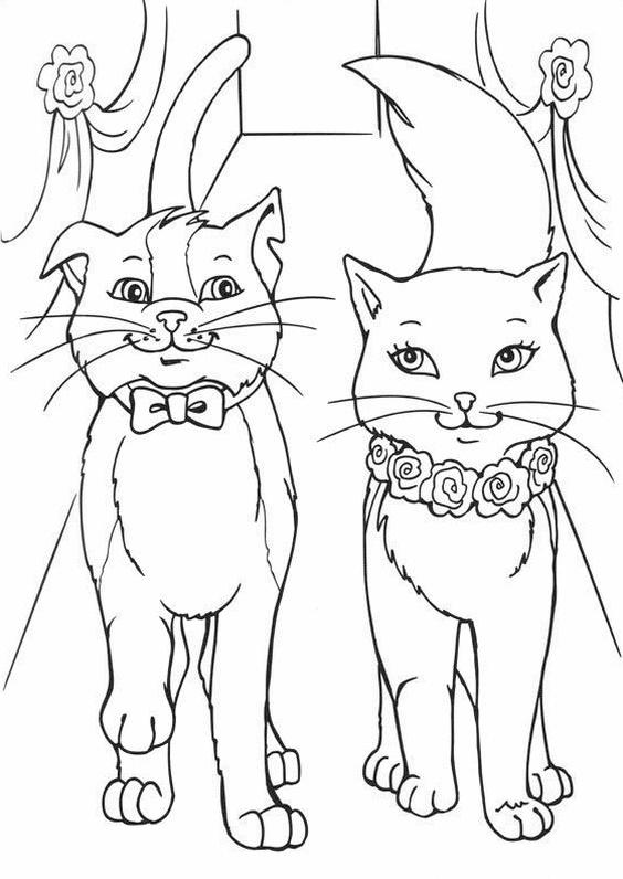 Раскраска барби с котом