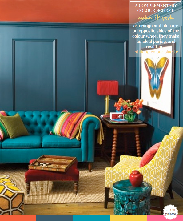 How to decorate with a complementary colour palette for Living room ideas mustard