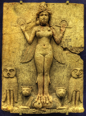 Old Babylonian period Queen of Night relief represents Ishtar aspect, Inanna Goddess, ancient Sumer, Anunakis, Aliens