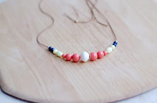 Long multicolor bead necklace handmade from recycled vintage beads