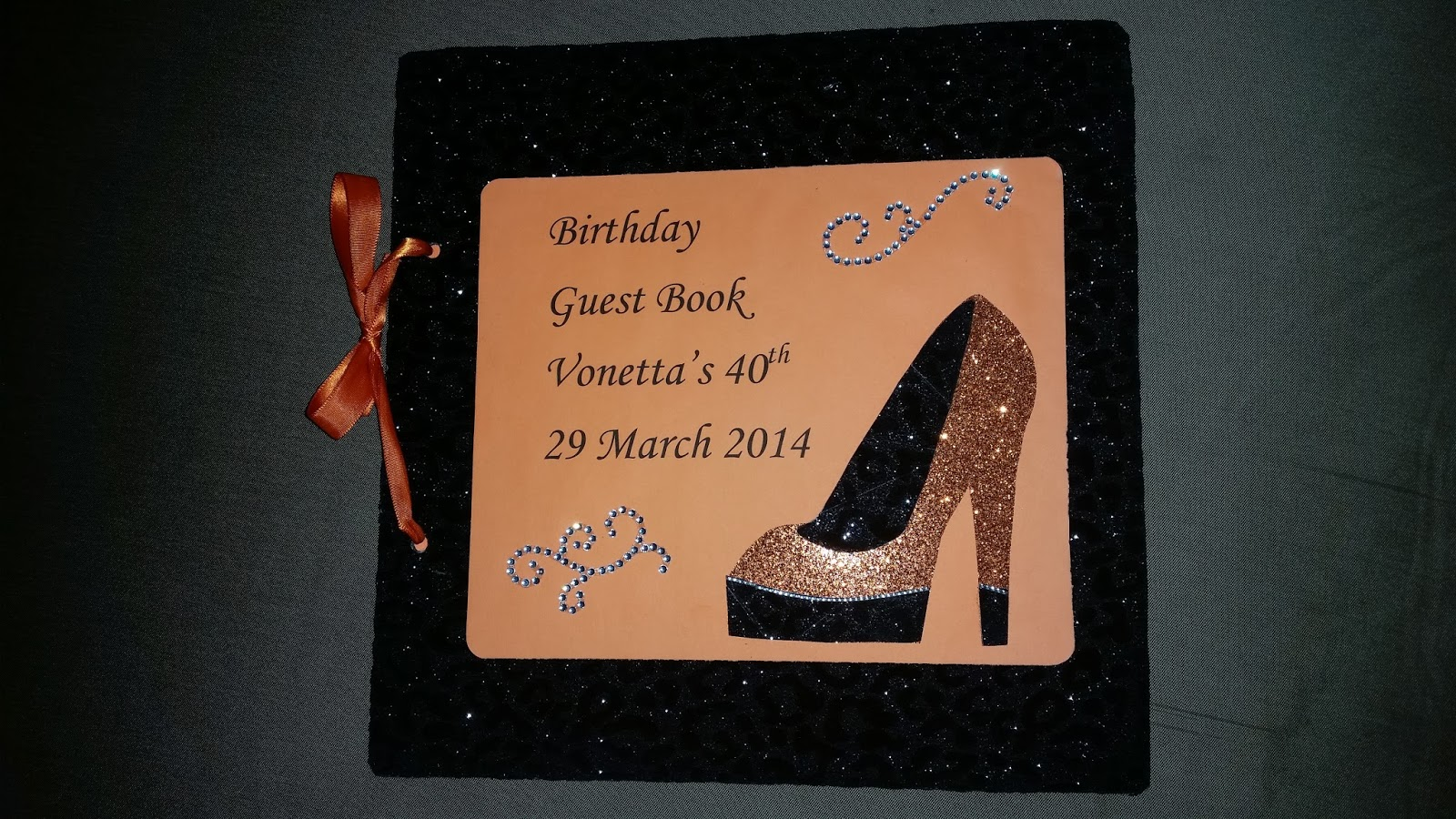 vmc expressions orange and black 40th birthday party guest book