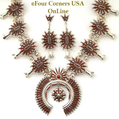 Coral Needlepoint Squash Blossom Four Corners USA OnLine Native American Zuni Jewelry