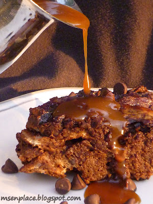 Mocha Latte Bread Pudding w/ Caramel Whiskey Sauce from Ms. enPlace