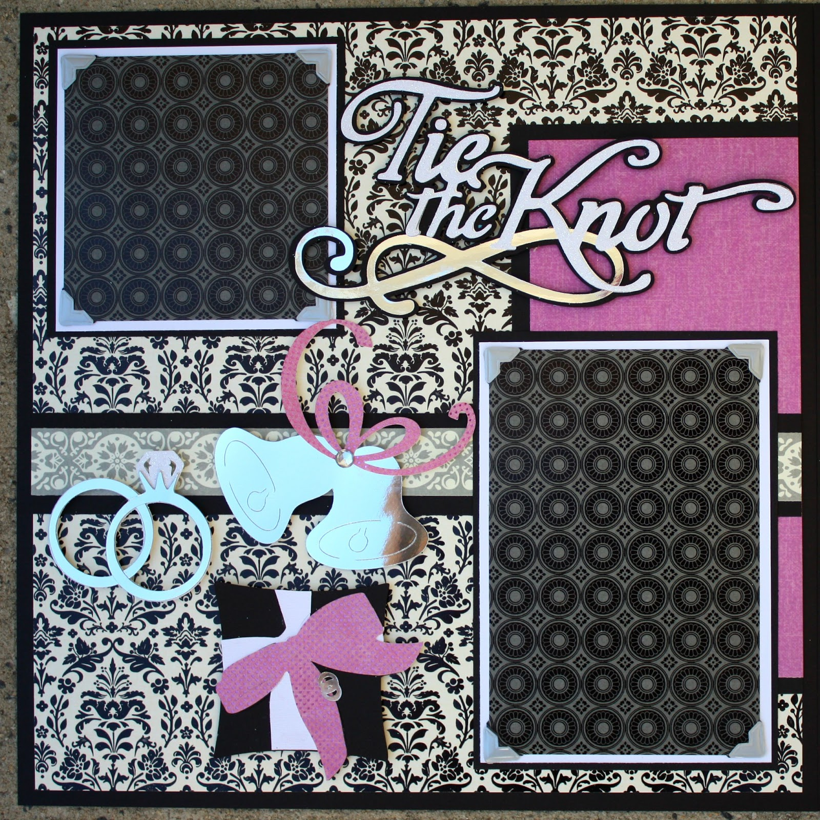Wedding scrapbook ideas layouts - The Tie The Knot Title Was Cut From The Cricut Tie The Knot Cartridge At 3 5