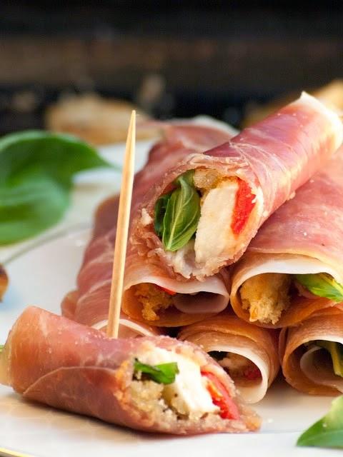 Roulés de Parme aux saveurs d'Italie, bouchées italienne, roulés de jambon, recette italienne
