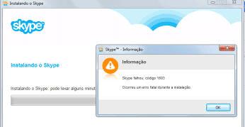 Corrigir erro 1603 na instalação do Skype