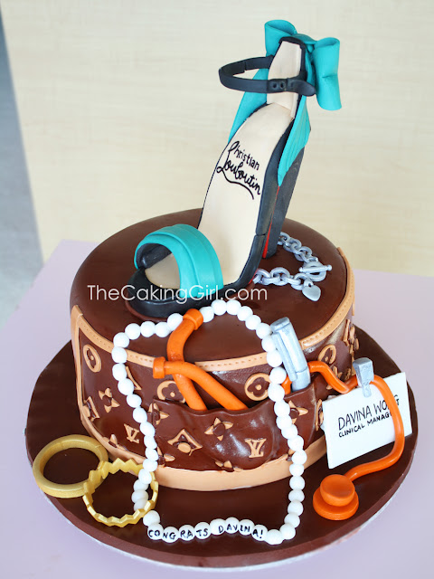 lv purse louboutin shoe cake