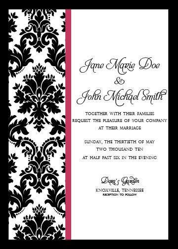 sweet sheets paper boutique damask invitations