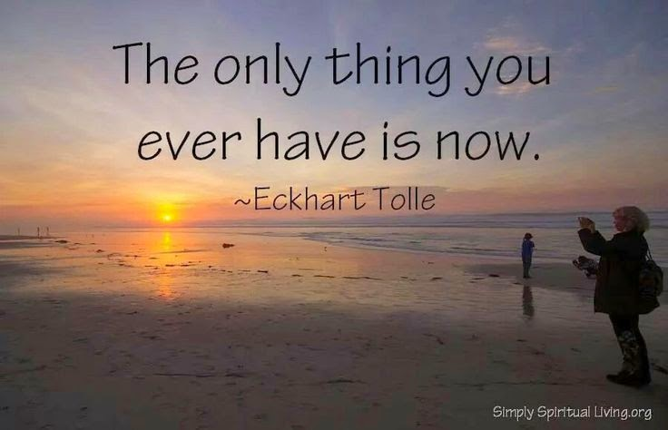 """The only thing you ever have is now."" ~ Eckhart Tolle Picture of a sunrise on a beach. SimplySpiritualLiving.org"