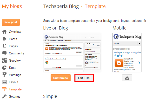 How to edit the html code of your blogger blog the for Template for blogger html code