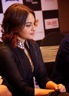Sonakshi Sinha OMG Sizzles in Deep neck Black jacket in Hyderabad WOW