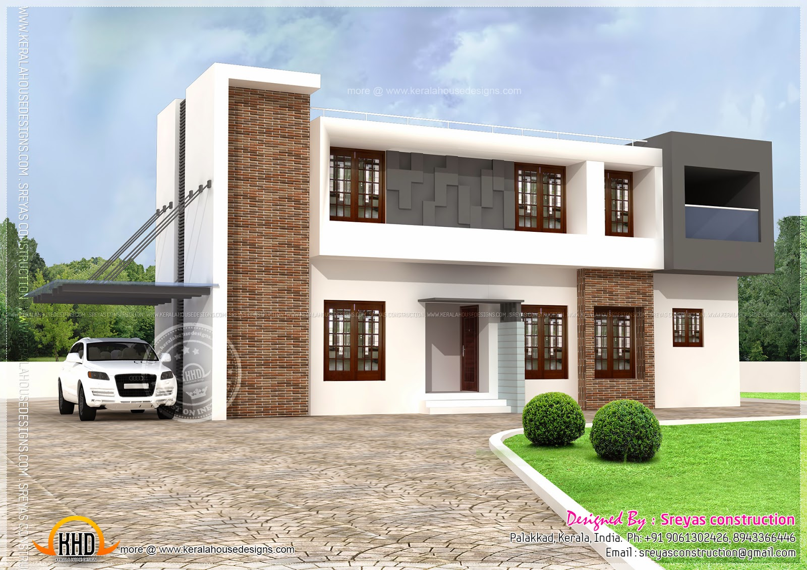 2112 square feet modern house home kerala plans for Contemporary roof