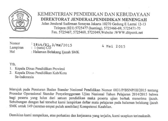 Download Format Halaman Belakang Ijazah SMK Tahun 2014/2015