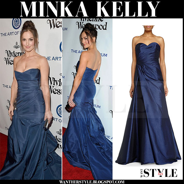 Minka Kelly in blue strapless gown monique lhuillier red carpet what she wore