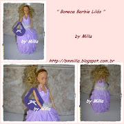 Bom dia! Boneca tipo Barbie com roupa feita em E.V.A. lilás