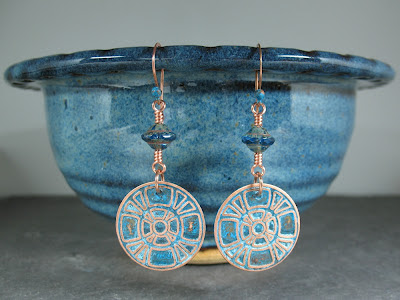 blue patina etched copper & Czech glass earrings