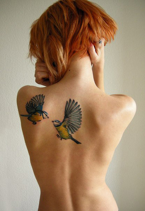 Birds Back Tattoo for girls