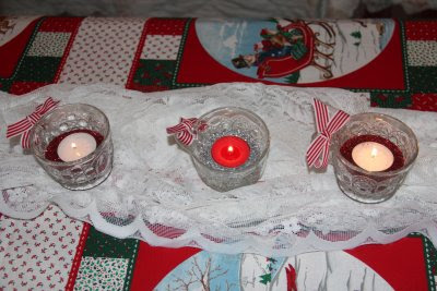 votive candles with glitter