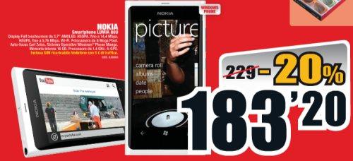 Miglior prezzo per il Lumia 800 con risparmio reale di circa 35 euro rispetto alla media