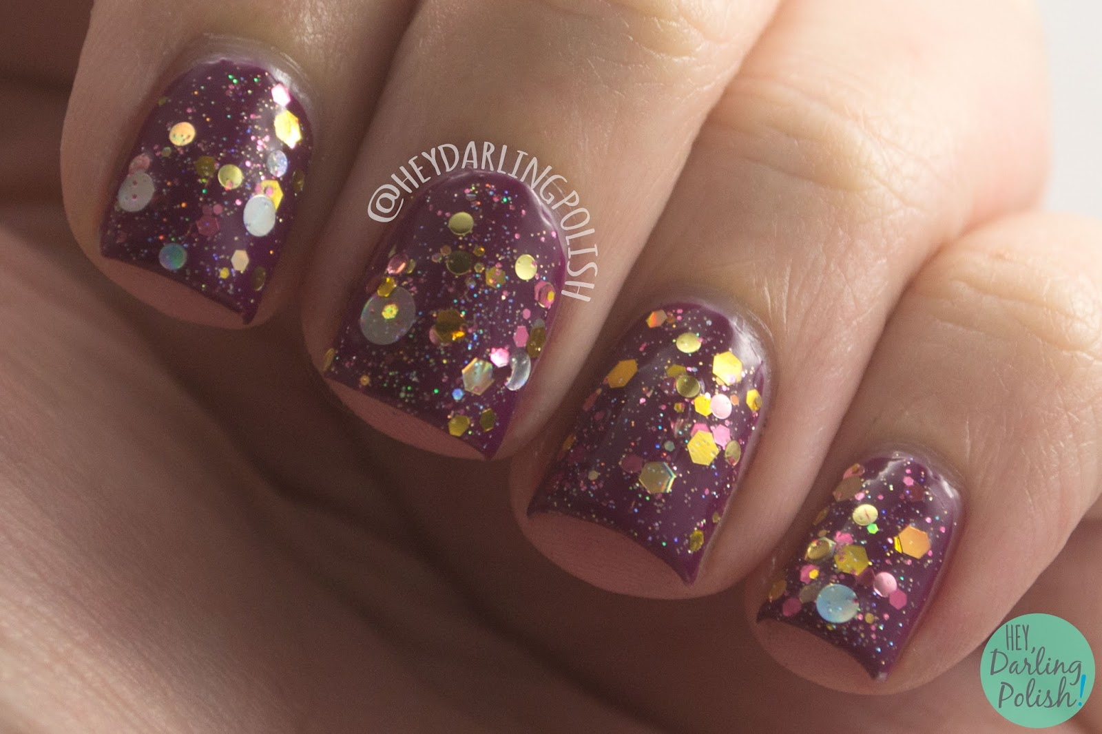 toast-ess with the mostest, gold, pink, nails, nail polish, indie, indie polish, indie nail polish, kbshimmer, hey darling polish, glitter