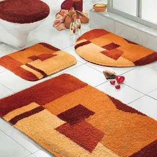 Conjunto de tapeçaria colorida de banheiros
