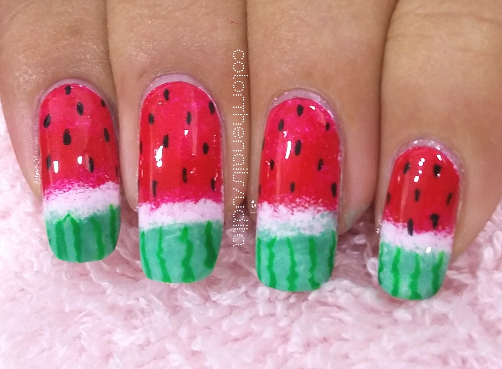 Day 12 Watermelon Omd Nail Art Challenge Color The Nails