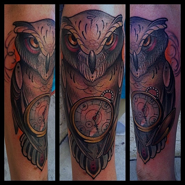 Pocket Watch Owl Tattoo Shading In The Lines: ...