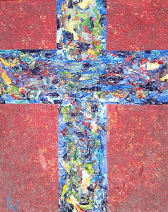 Blue Cross on Red Acrylic Collage