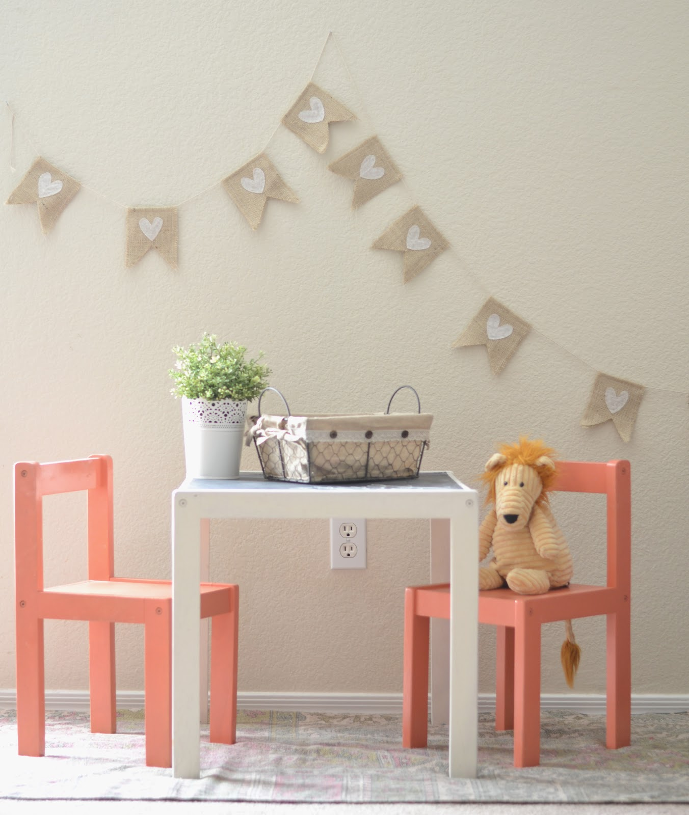 spray painted the table heirloom white and the chairs coral isle by