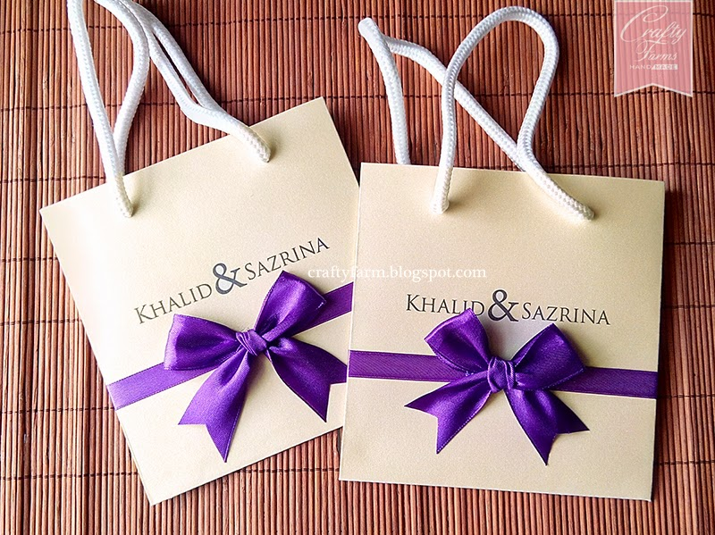 Cream and Purple Paper Bag Themed Wedding Cards Undangan Kad Kahwin
