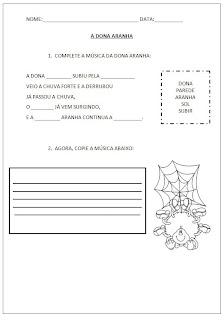 Atividades para Alfabetização - A Dona Aranha - Complete as lacunas