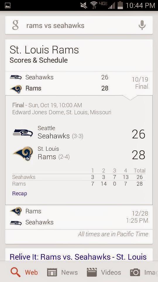 seahawks 26 Rams 28