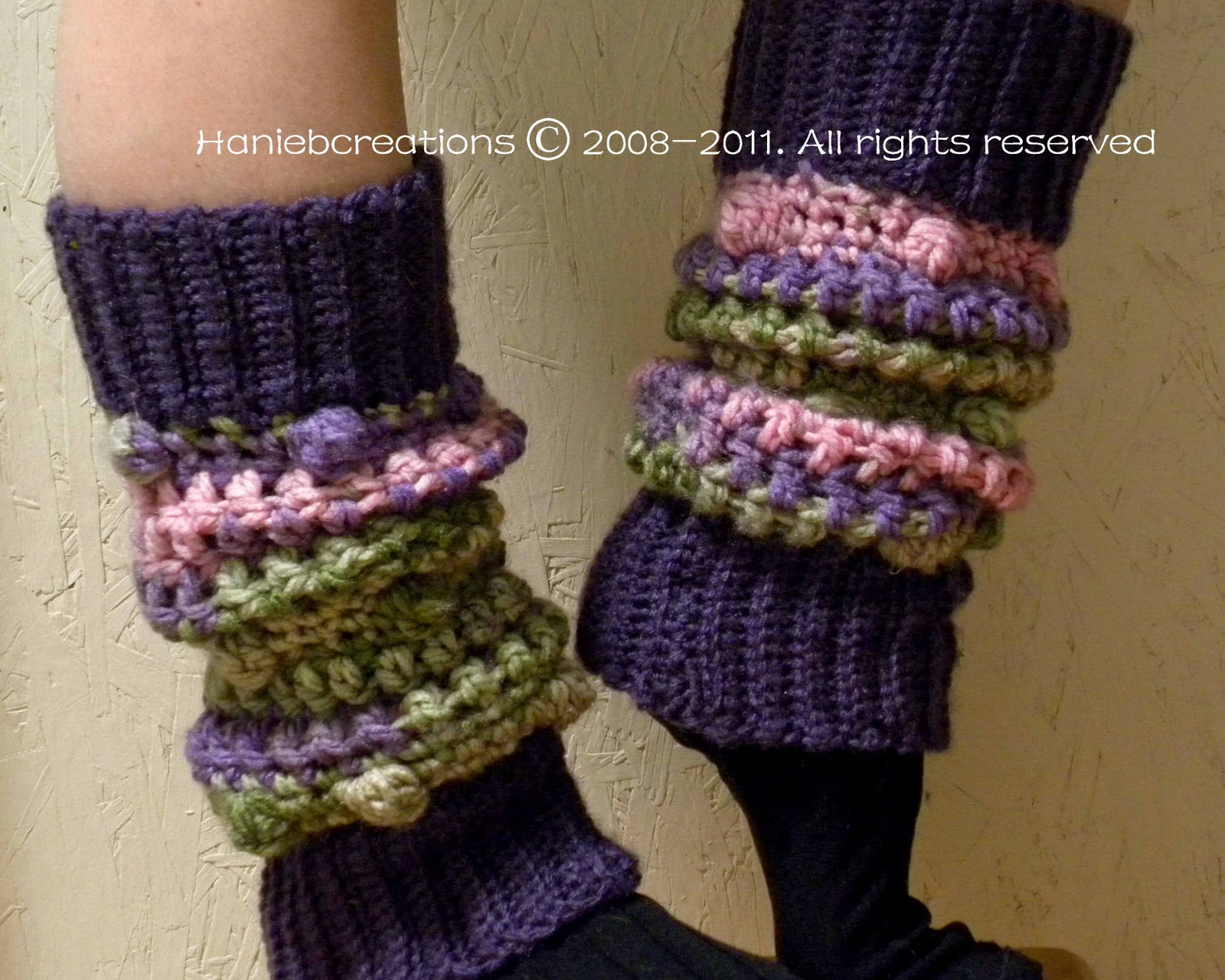 Free Printable Crochet Patterns For Leg Warmers : HanieBCreations: Leg Warmers Hand Crocheted Multi-Color Design