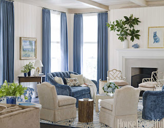 Palatial living all about blue applied pattern print for Ann wolf interior decoration