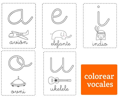 Dibujos para Colorear: Vocales para colorear minúsculas