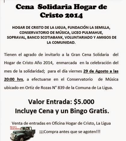 Cena Solidaria Hogar de Cristo 2014
