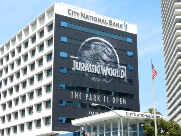 Giant Jurassic World movie billboard