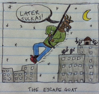 a goat is making his big escape